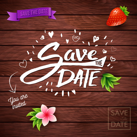 Event invitation with save the date text on wood background with a red strawberry in one corner Vettoriali