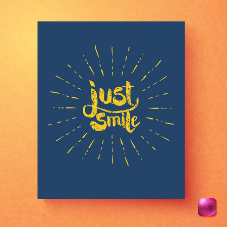Just Smile inspirational greeting card template with grunge yellow text surrounded by radiating rays on blue over a textured graduated orange background with pink button Ilustração