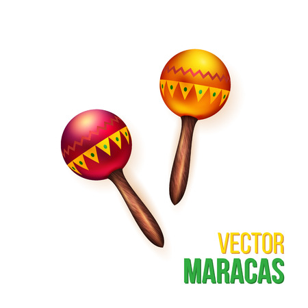 Realistic orange and red musical rattles or maracas on white background. Vektorové ilustrace