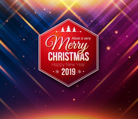 Red hexagonal Merry Christmas and Happy New Year 2019 label. Colored background with sparkling starlights, rays of light and warm glow, flare effects. Stock Illustratie