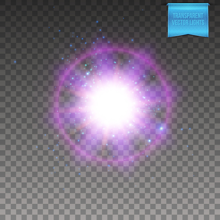 Vector illustration of realistic violet supernova explosion on transparent background. With flare trails, explosive sparkles and halo effect.