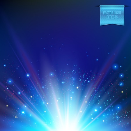 Vector illustration of abstract glowing white sun, star burst on dark blue background. With light effects of flare, rays of light and colored shiny sparkles.