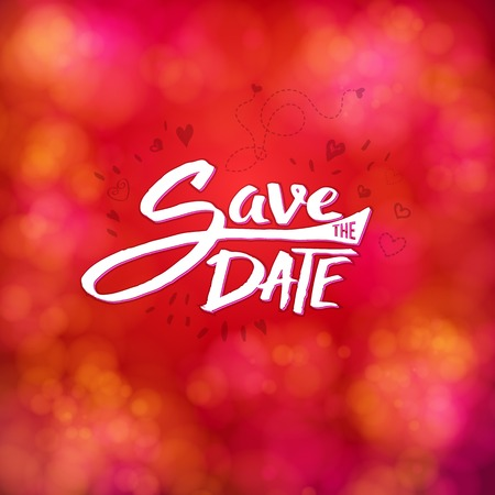 Save the date event stationery with white text on a blurred bubble pink and red background Illustration