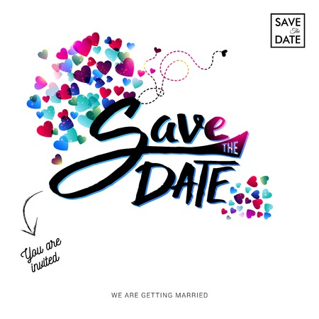 Save the date text invitation with hearts written in black against a white background