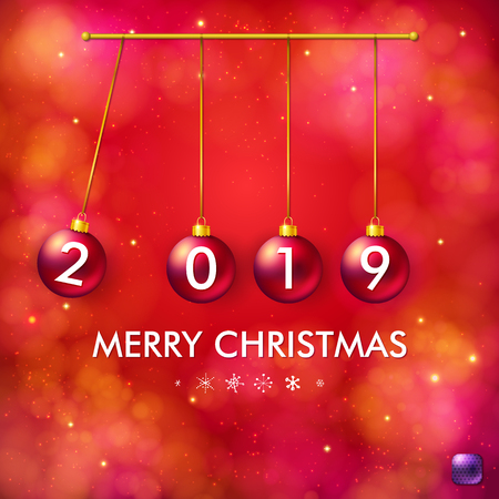 Vector illustration of four 2019 numbered bright red Christmas balls in swinging pendulum composition with Merry Christmas text. Blurred shiny red background with sparkling and bokeh light effects.
