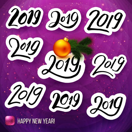 Set of black and white typographic 2019 stickers on posh purple background with shiny sparkles. Decorated with label, Happy New Year text, orange Christmas ball and green branch. Vector illustration.