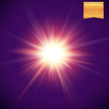 Realistic, bright, glowing sun, star burst on dark purple background. Radiant light beams, flare light effects. Vector illustration.