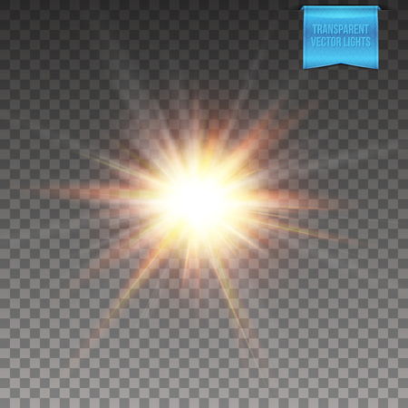 Transparent background. Vector illustration of realistic glowing sun, star burst with radiant light beams, flare light effects. Ilustrace