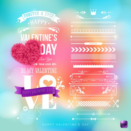 Blurred, colorful background, bokeh light effects. Valentines day card template with a set of vintage style design elements. Vector illustration.