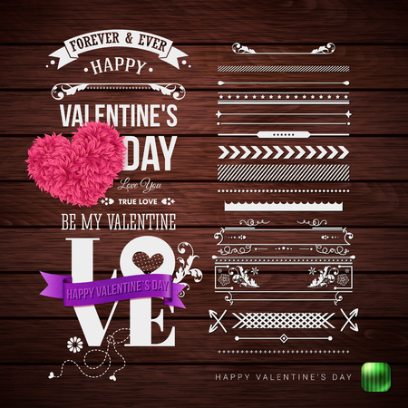 Set of elements for Your Valentines day card design. Typographic text, various objects with retro touch. Wooden background. Vector illustration.