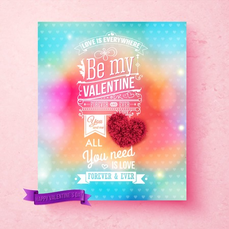Colorful Valentines day card on textured light pink background. Hearts pattern. Bokeh, sparkling light effects. Ornaments and typographic text with retro touch. Layered vector illustration. Ilustrace
