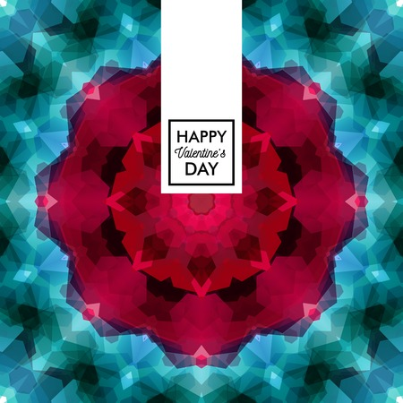Valentines day card vector illustration. Typographic text. Vintage, colorful mosaic background with kaleidoscope pattern.