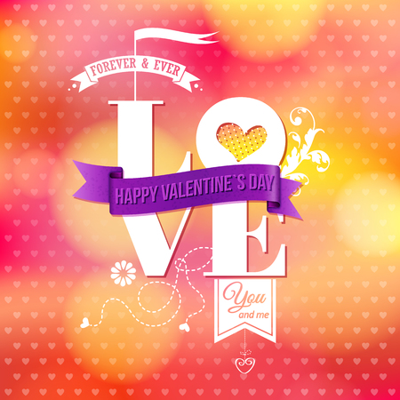 Shiny background with hearts pattern, bokeh light effects. Vintage ornaments and typographic text. Valentines day card. Vector illustration.