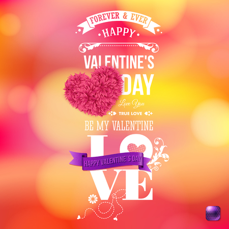 Valentines day card vector illustration. Bright, blurred background. Bokeh light effects. Realistic floral heart. Typographic text. Ilustrace