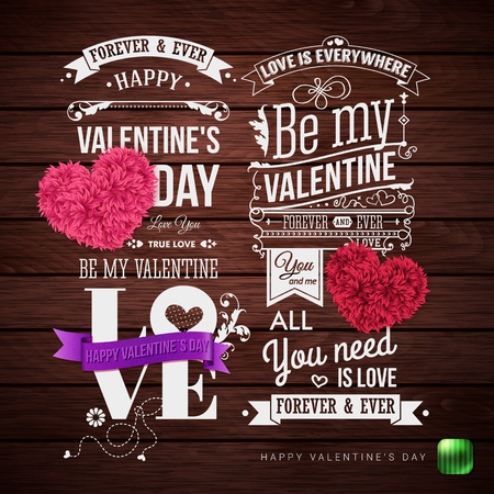 Vector illustration. Set of graphic design templates for Valentines day card. Brown, wooden background. Various lettering and design elements. Ilustrace