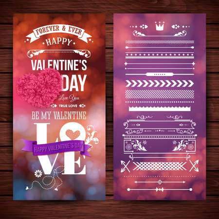 Layered vector illustration. Different festive backgrounds on top of dark wooden backdrop. Valentines day card template. Typographic text, various lettering. Set of design elements. Ilustrace