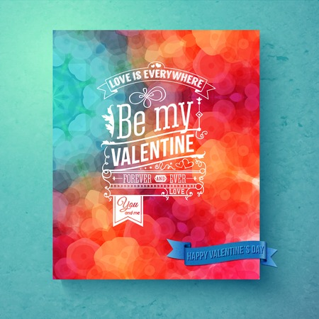Layered vector illustration. Bright, patterned Valentines day card on textured green background. Design elements and typographic text with retro touch. Ilustrace