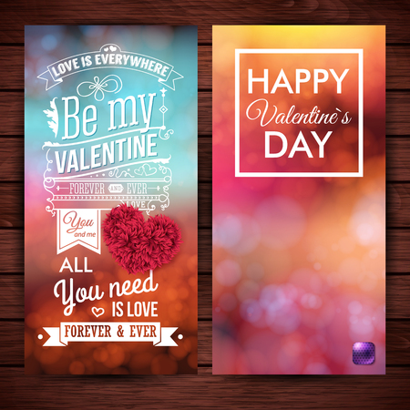 Set of two festive, colorful Valentines day cards on dark brown wooden background. Blurred, bokeh light effects. Vector illustration.