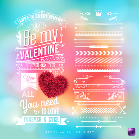 Valentines day card template with extra set of design elements. Colorful, shiny background with light effects. Retro style text and ornaments. Vector illustration. Ilustrace