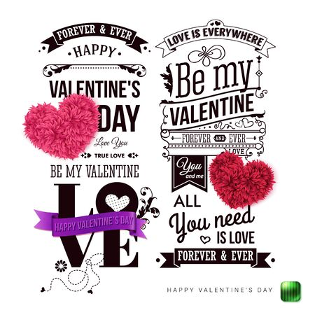 Set of two vintage style Valentines day cards on white background. Various design elements, typographic text.  Vector illustration.