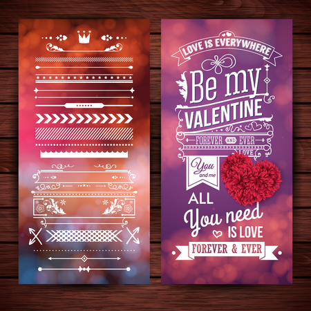 Layered vector illustration. Set of design elements and Valentines day card on dark, wooden backdrop. Typographic text, various lettering. Colorful, blurred backgrounds with bokeh light effects. Ilustrace