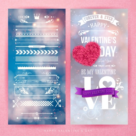 Valentines day card template and set of design elements on different festive, blurred backgrounds. Sparkling, bokeh light effects. Textured backdrop. Typographic lettering. Vector illustration. Ilustrace