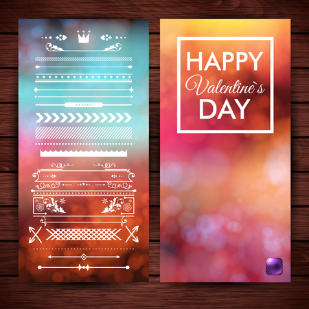 Wooden backdrop. Layered vector illustration. Set of design elements and Valentines day card on various colorful backgrounds with light effects. Typographic text.