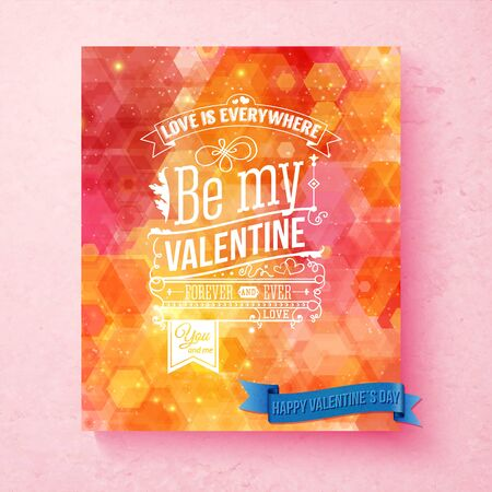 Colorful, bright  Valentines day card  with pattern and sparkling light effects. Textured background. Typographic text, various ornaments. Vector illustration.