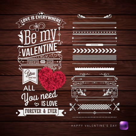 Valentines day card and additional set of design elements. Retro style vector illustration on wooden background. Ilustrace