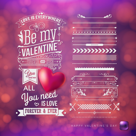 Valentines day card template with extra set of design elements. Festive, blurred purple background with bokeh light effects. Vector illustration. Retro style text and ornaments. Realistic red heart.