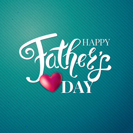 Fathers day card. White typographic text and red heart on green patterned background. Vector illustration. Ilustrace