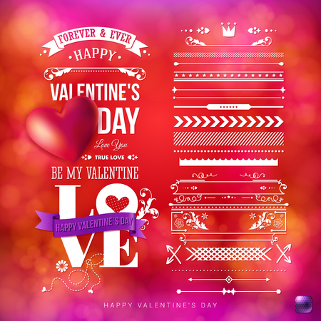 Bright red, blurred background with bokeh light effects. Valentines day card template with a set of vintage style design elements. White typographic text. Realistic red heart. Vector illustration.