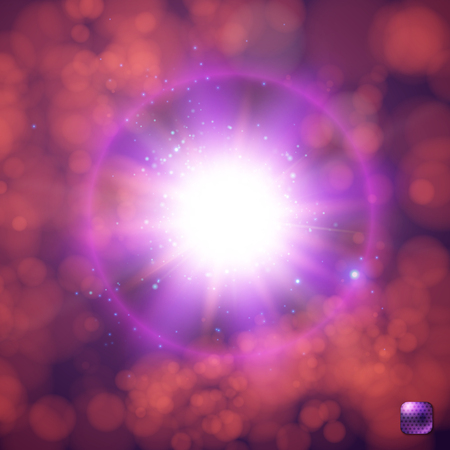 Realistic, bright, glowing sun, star burst, supernova explosion with flare trails, explosive sparkles and violet halo effect. Dark red blurred background with bokeh light effects. Vector illustration. Ilustrace