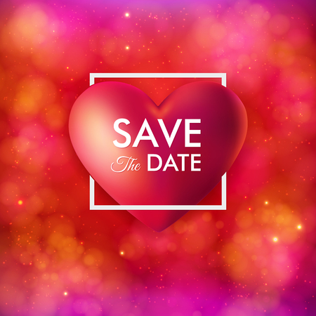 Save the date invitation card. For wedding, personal holiday event. Large realistic red heart, white typographic text. Festive, bright pink and red background with light effects. Vector illustration.