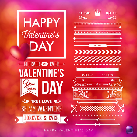 Vector illustration of Valentines day card template and a set of vintage style design elements. White typographic text. Realistic red heart. Bright red, blurred background with bokeh light effects.