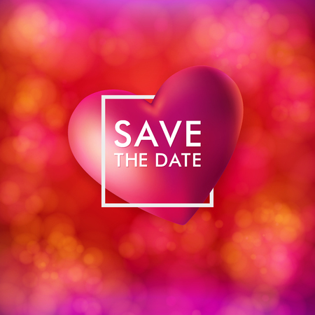 Save the date card vector illustration. For wedding invitation, personal holiday event. Festive, bright pink and red background with bokeh light effects. Realistic red heart, white typographic text. Ilustrace