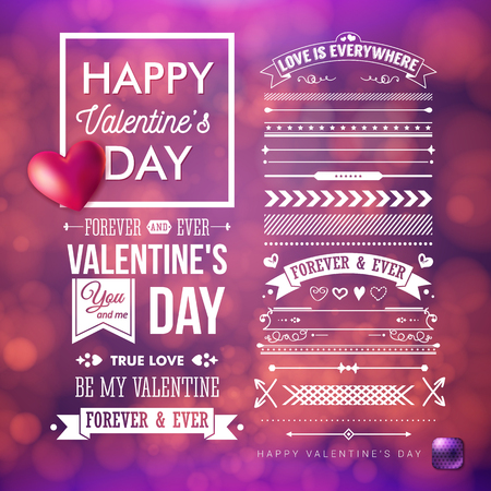 Festive, blurred purple background with bokeh light effects. Valentines day card and additional set of vintage design elements. Realistic red heart. White typographic text. Vector illustration.
