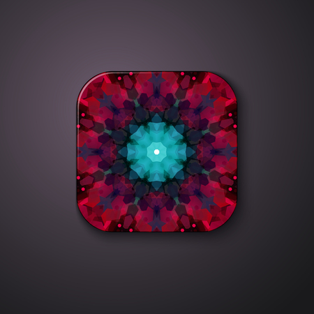 Abstract geometrical red and blue floral pattern on a square button with rounded corners, shadow and copy space on grey. Ilustrace