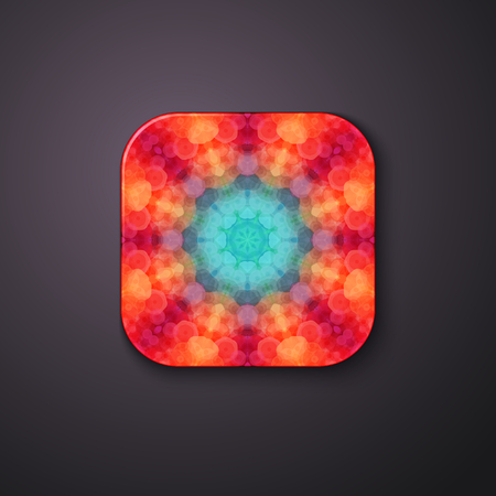 Complex abstract fractal mathematical raised button on grey gradient.
