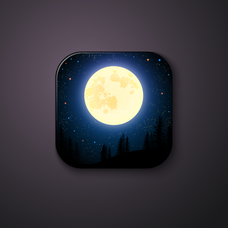 Night scenery with full moon and stars glowing above a coniferous forest in a square-shaped button with round corners, with copy space on grey background or wall
