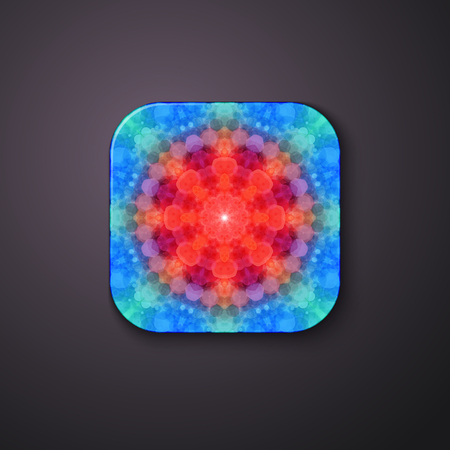 Red warning 3d button with abstract 3d fractal pattern. Ilustrace