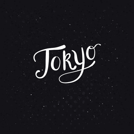 Conceptual Tokyo Message in a Simple White Text Style on a Dotted Abstract Black Background. Vector illustration.