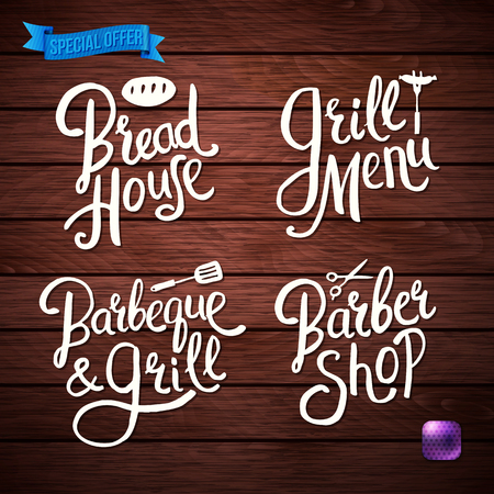 Set of Hand drawn White Text Design for Your Shop or Cafeteria Concept on Wooden Background with bright button and ribbon. Vector illustration.