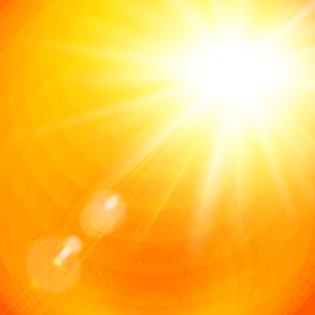 Dramatic vivid sunburst in a fiery orange sky with sun flare in square format for use as a background or design element. Vector illustration.