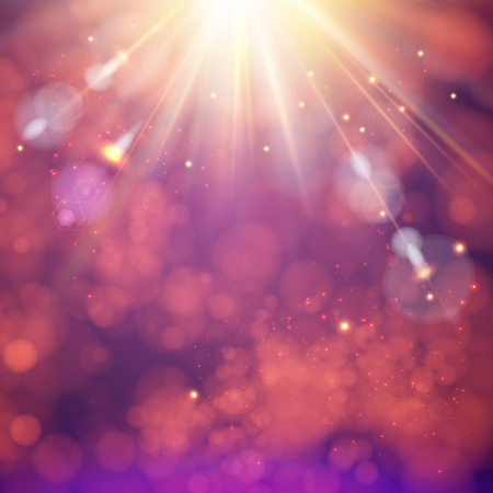 Festive abstract background with a bright sunburst with rays of light and flare, vector illustration.