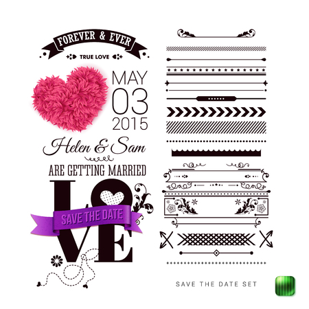 Wedding Invitation. Typography design, Set of Border Patterns and Symbols, decorative heart and purple ribbon on a Simple White Background. Vector illustration.