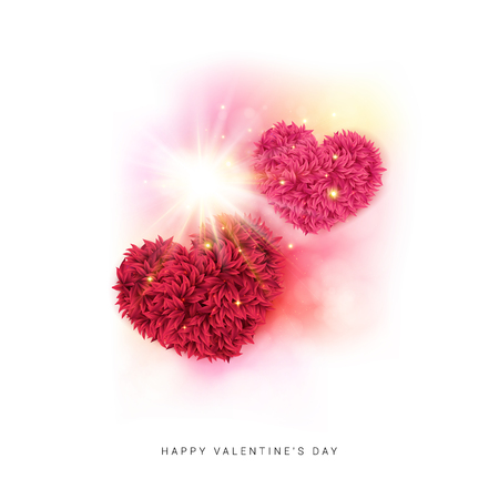 Festive Happy Valentines day card design with colorful pink and red floral hearts under a dynamic sunburst of sparkling rays of light on a white background. Vector illustration. Ilustrace