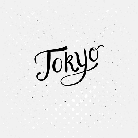 Conceptual Tokyo Message in a Simple Black Text Style on a Dotted Abstract White Background. Vector illustration.