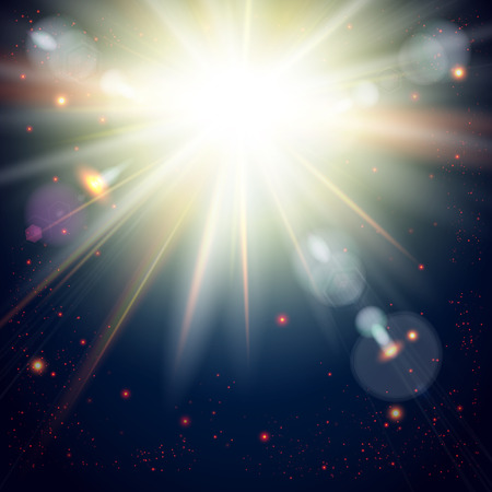 Bright sunburst on a Dramatic Cosmic background. Vector image.