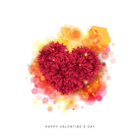 Sentimentale Happy Valentinstag-Karte. Dekoratives Blumenherz auf einem Hexagonmusterhintergrund. Vektor-Illustration. Vektorgrafik